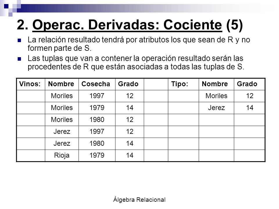 2. Operac. Derivadas: Cociente (5)