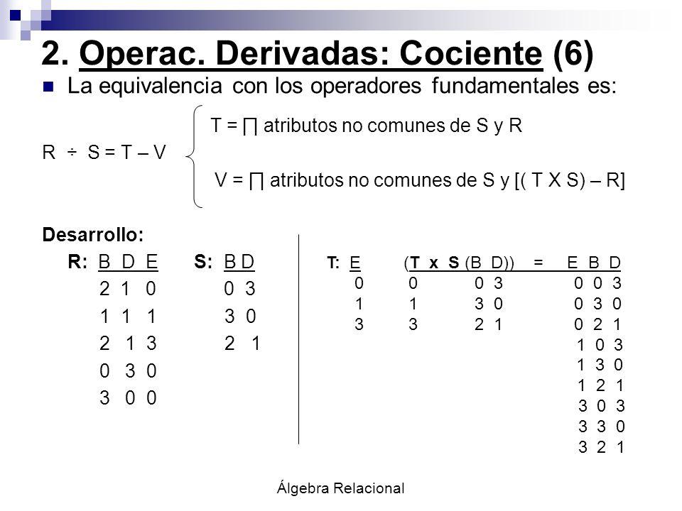 2. Operac. Derivadas: Cociente (6)