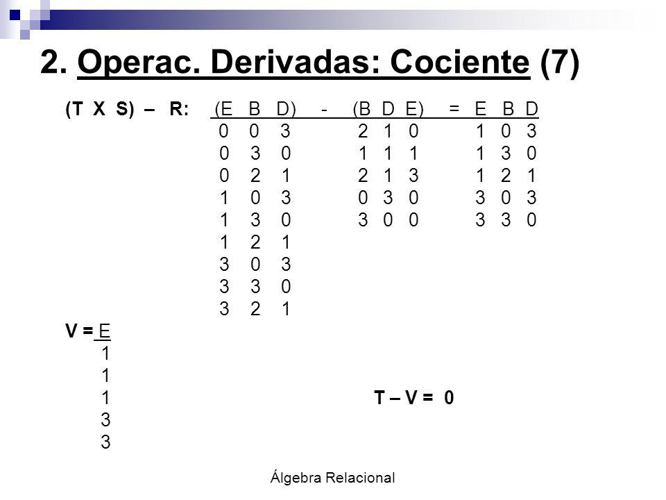2. Operac. Derivadas: Cociente (7)