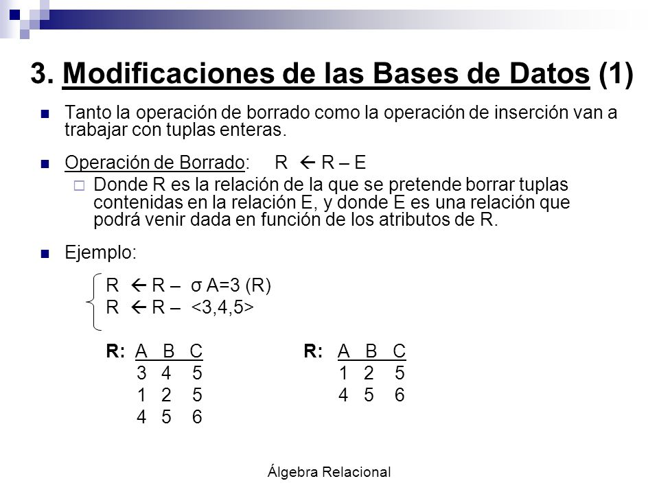 3. Modificaciones de las Bases de Datos (1)