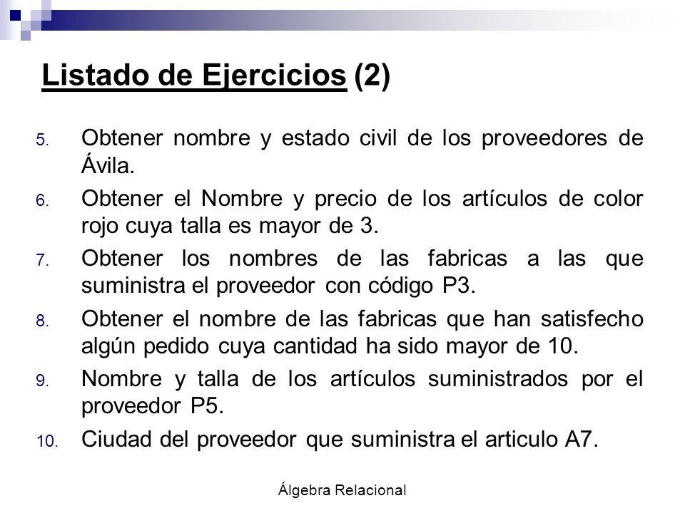 Listado de Ejercicios (2)