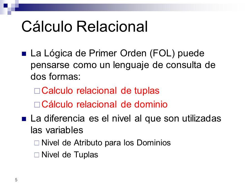 Cálculo Relacional La Lógica de Primer Orden (FOL) puede pensarse como un lenguaje de consulta de dos formas: