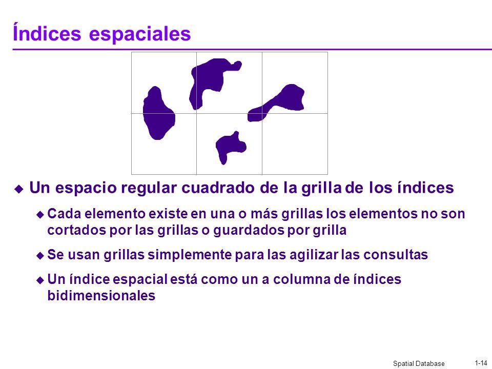 Índices espaciales Un espacio regular cuadrado de la grilla de los índices.