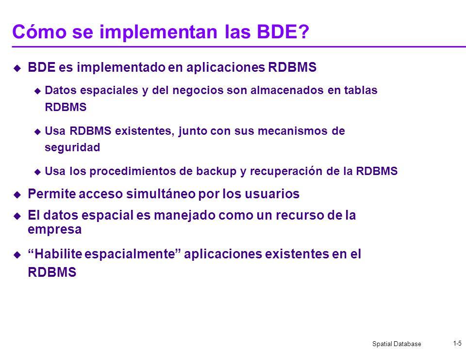 Cómo se implementan las BDE