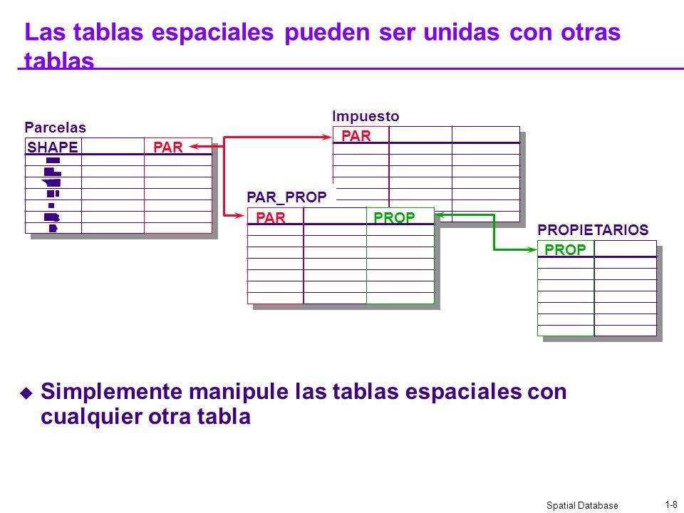Las tablas espaciales pueden ser unidas con otras tablas