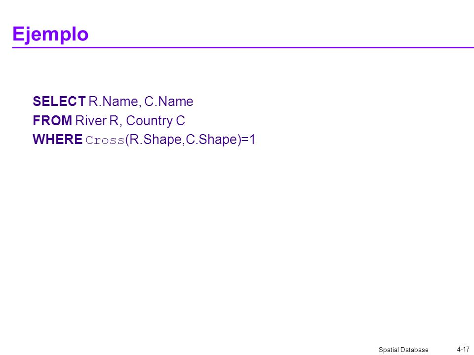 Ejemplo SELECT R.Name, C.Name FROM River R, Country C