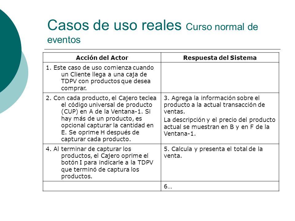 Casos de uso reales Curso normal de eventos