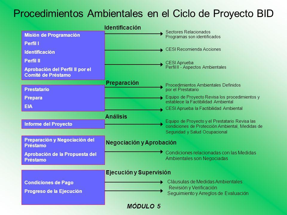 Procedimientos Ambientales en el Ciclo de Proyecto BID