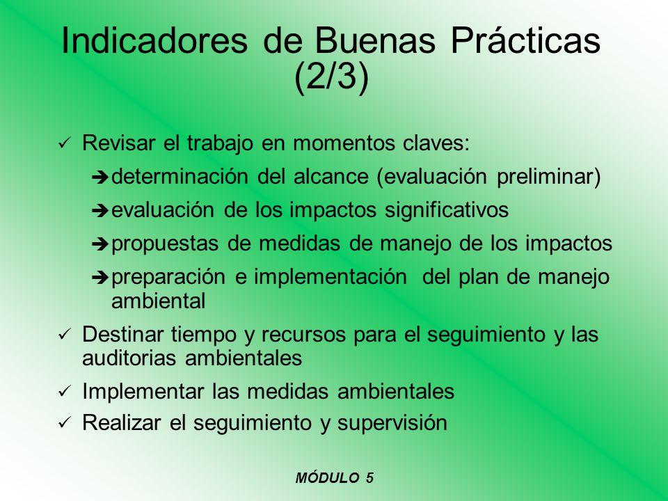 Indicadores de Buenas Prácticas (2/3)