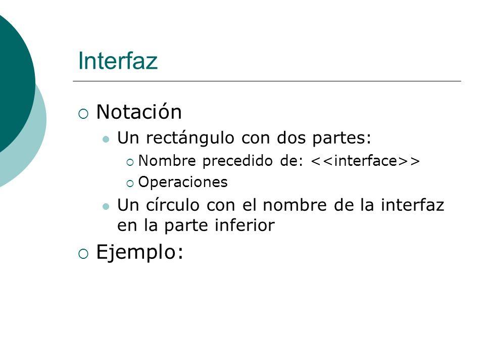 Interfaz Notación Ejemplo: Un rectángulo con dos partes: