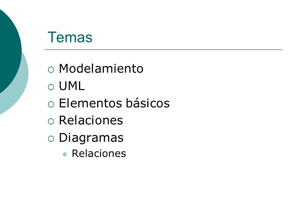 Temas Modelamiento UML Elementos básicos Relaciones Diagramas