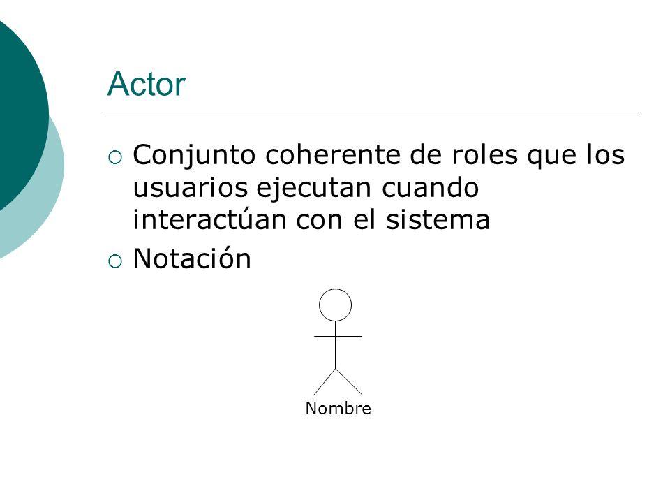 Actor Conjunto coherente de roles que los usuarios ejecutan cuando interactúan con el sistema. Notación.