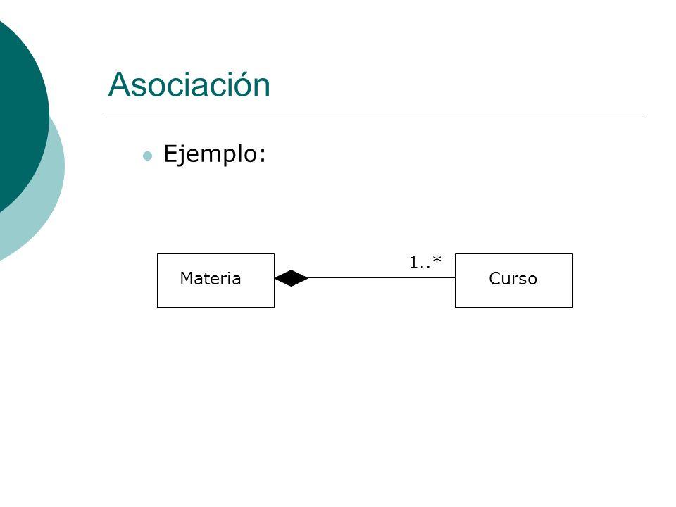Asociación Ejemplo: Materia Curso 1..*