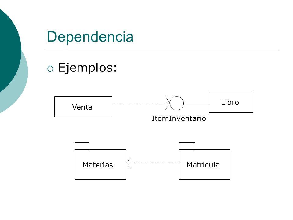 Dependencia Ejemplos: Libro ItemInventario Venta Materias Matrícula