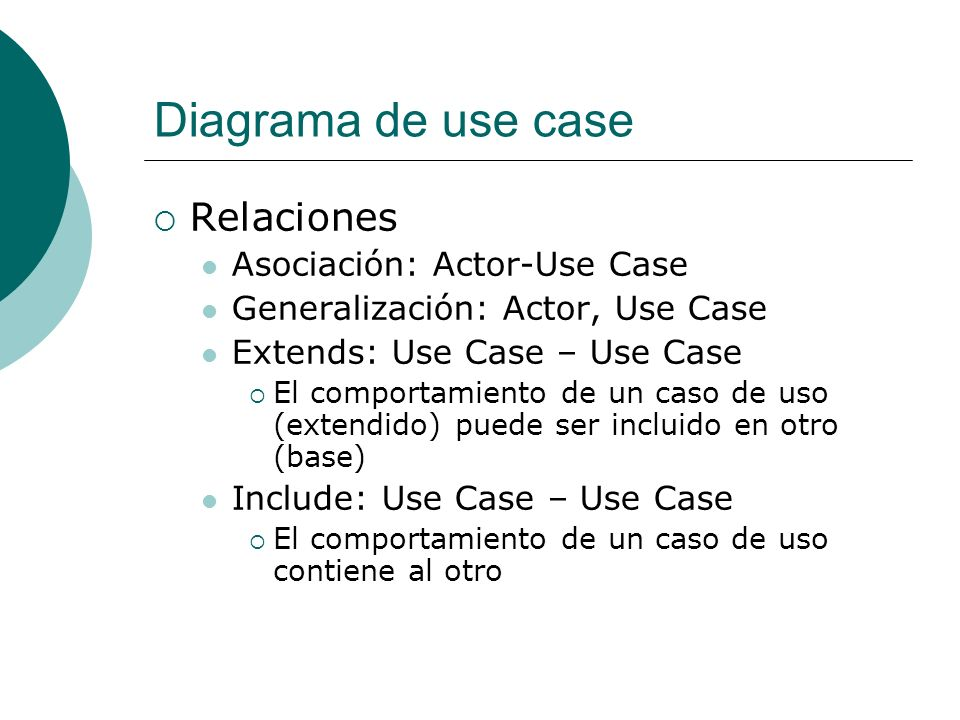 Diagrama de use case Relaciones Asociación: Actor-Use Case