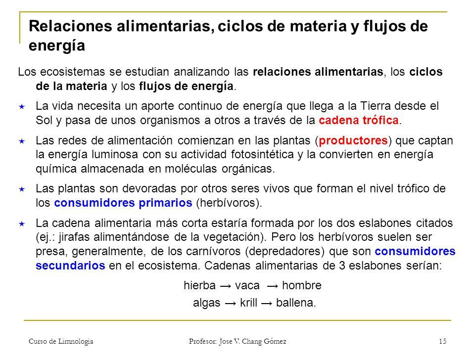 Relaciones alimentarias, ciclos de materia y flujos de energía