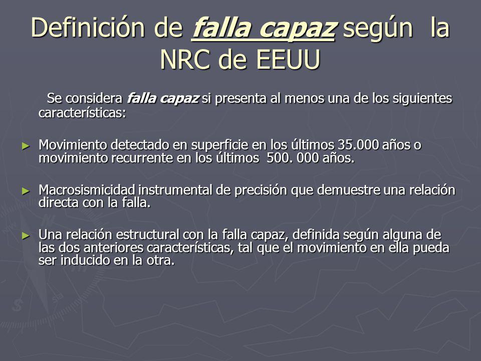 Definición de falla capaz según la NRC de EEUU