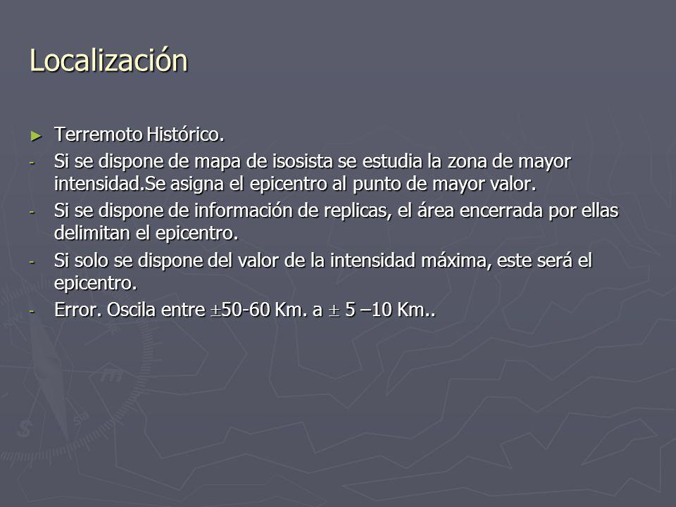 Localización Terremoto Histórico.