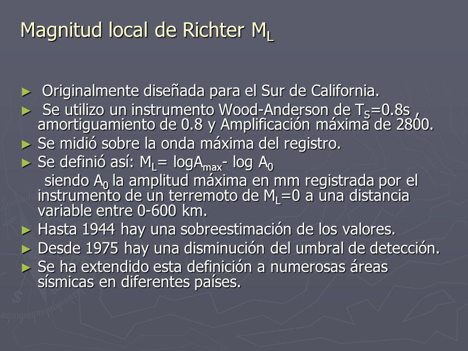 Magnitud local de Richter ML
