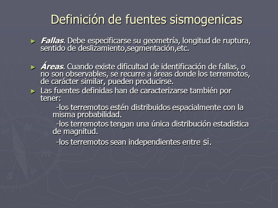 Definición de fuentes sismogenicas