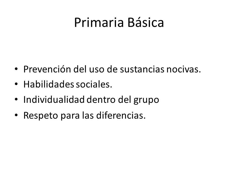 Primaria Básica Prevención del uso de sustancias nocivas.