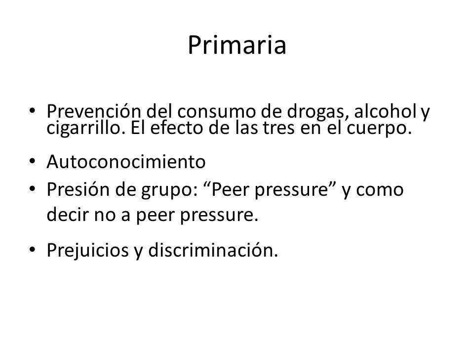 Primaria Prevención del consumo de drogas, alcohol y cigarrillo. El efecto de las tres en el cuerpo.