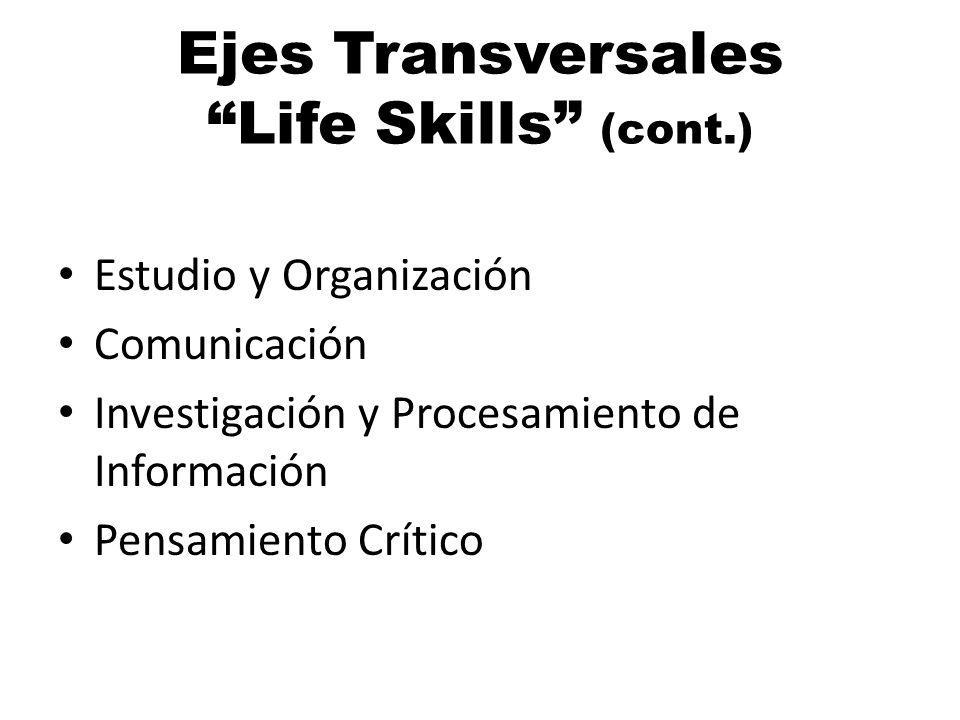 Ejes Transversales Life Skills (cont.)