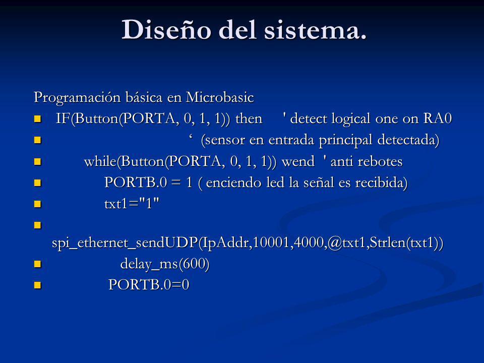 Diseño del sistema. Programación básica en Microbasic