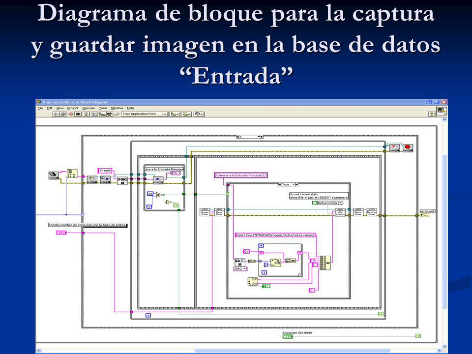Diagrama de bloque para la captura y guardar imagen en la base de datos Entrada