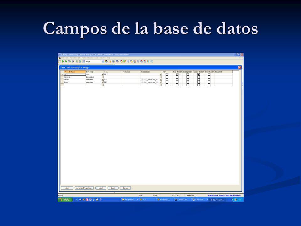 Campos de la base de datos