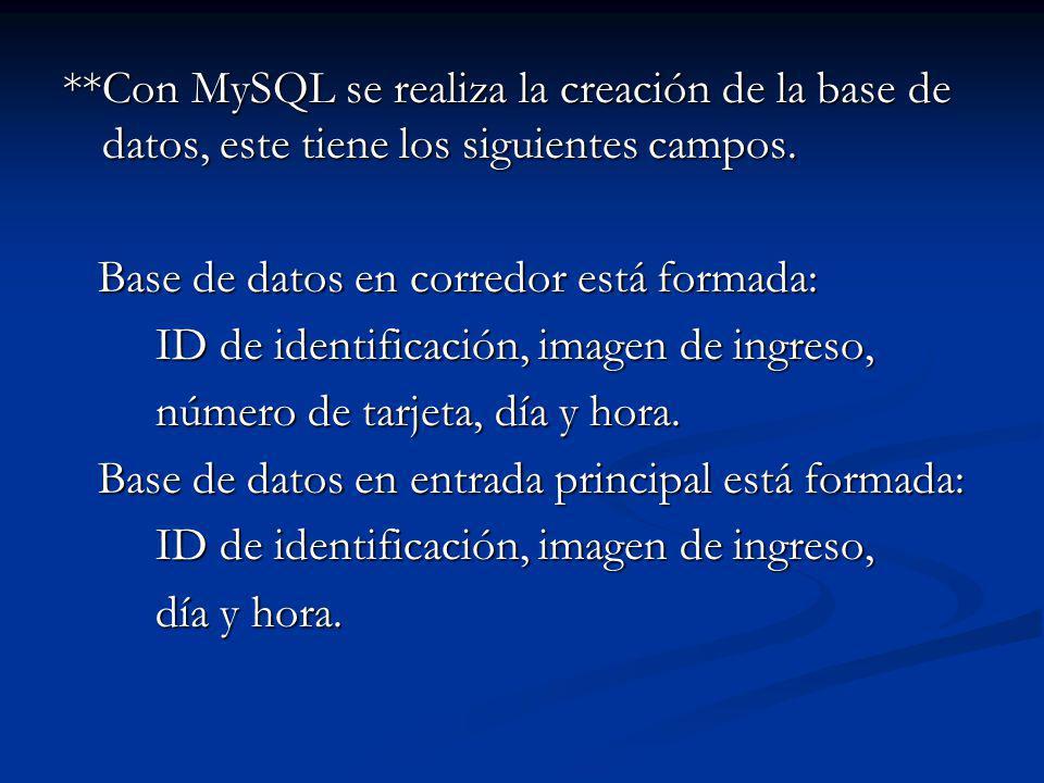 **Con MySQL se realiza la creación de la base de datos, este tiene los siguientes campos.