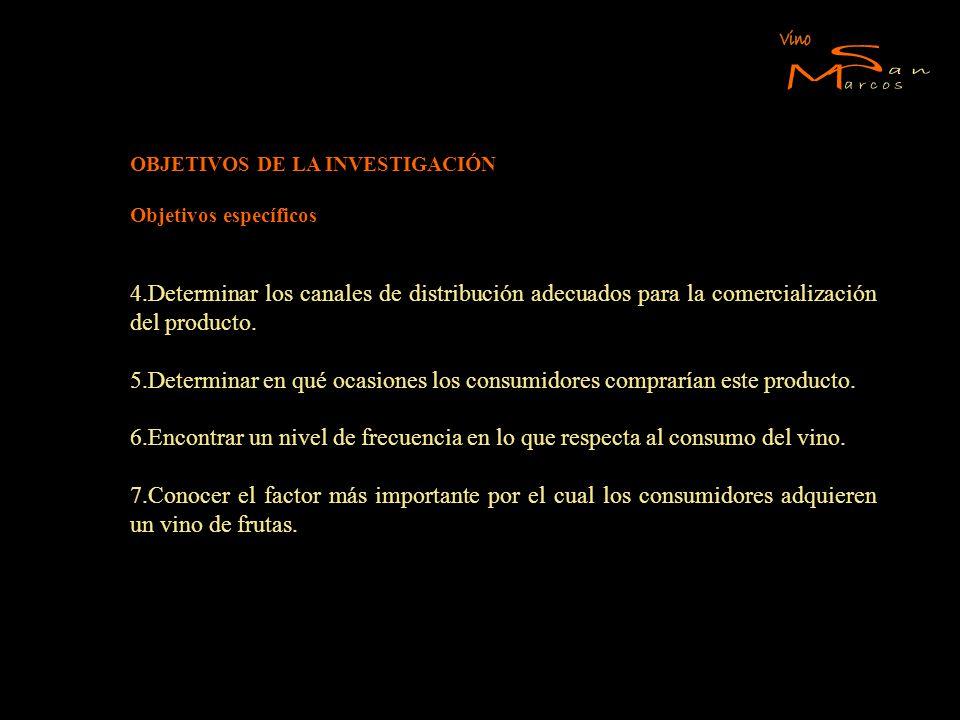 Vino S. M. arcos. an. OBJETIVOS DE LA INVESTIGACIÓN. Objetivos específicos.