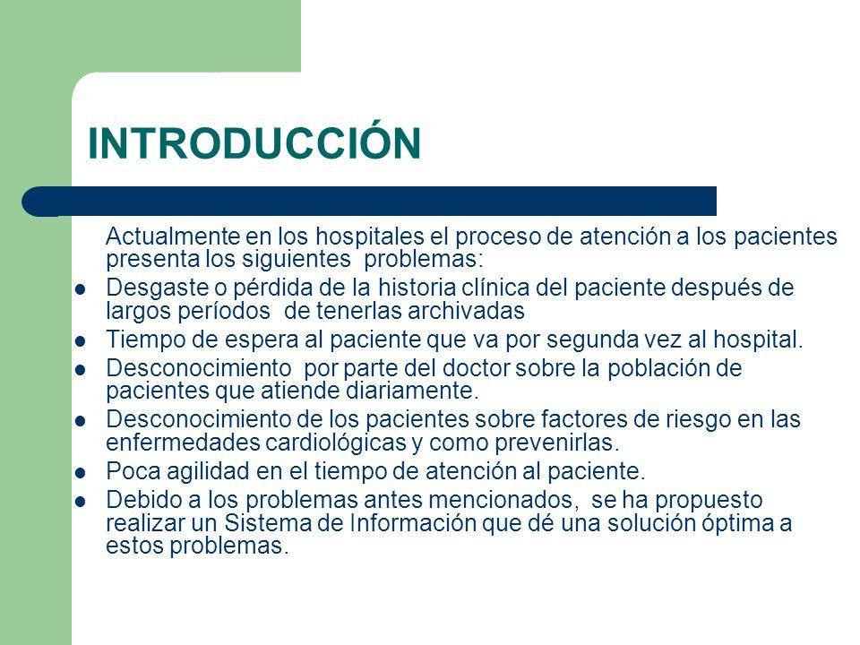 INTRODUCCIÓN Actualmente en los hospitales el proceso de atención a los pacientes presenta los siguientes problemas: