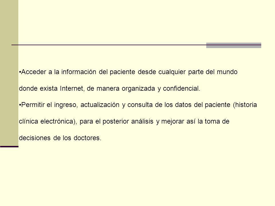 Acceder a la información del paciente desde cualquier parte del mundo donde exista Internet, de manera organizada y confidencial.