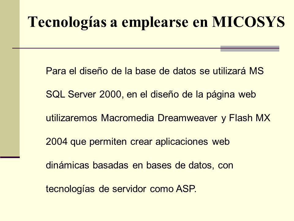 Tecnologías a emplearse en MICOSYS