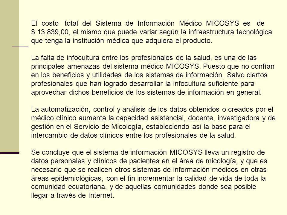 El costo total del Sistema de Información Médico MICOSYS es de $ 13