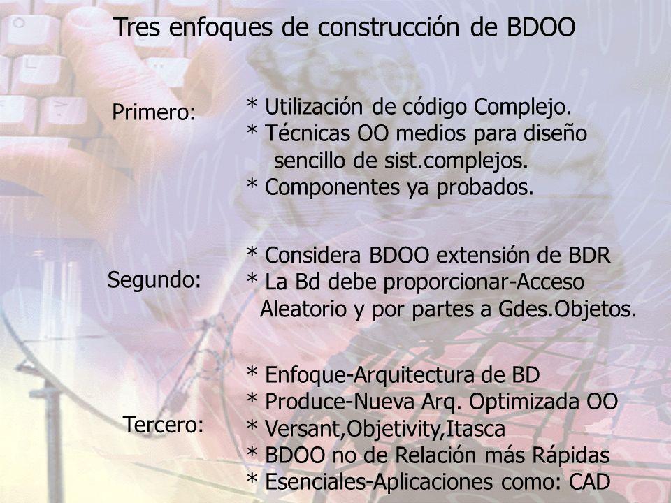 Tres enfoques de construcción de BDOO