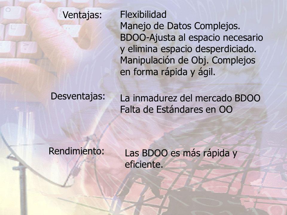 Ventajas:Flexibilidad. Manejo de Datos Complejos. BDOO-Ajusta al espacio necesario. y elimina espacio desperdiciado.