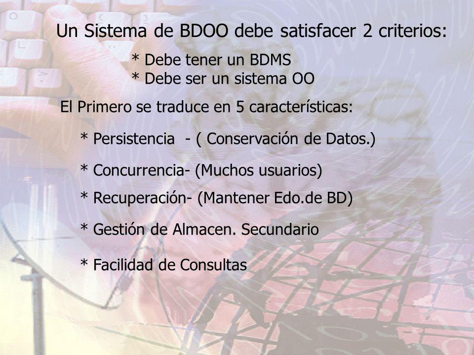 Un Sistema de BDOO debe satisfacer 2 criterios: