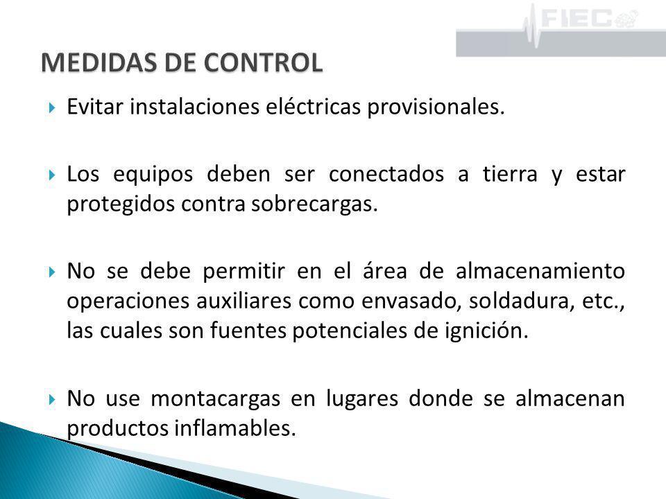 MEDIDAS DE CONTROL Evitar instalaciones eléctricas provisionales.