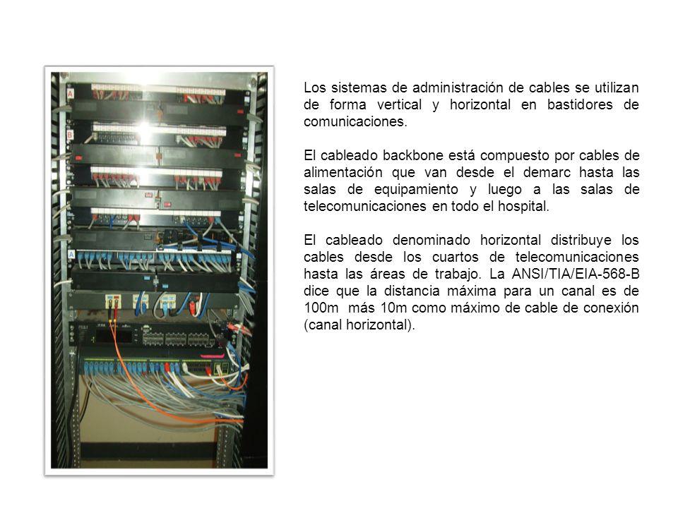 Los sistemas de administración de cables se utilizan de forma vertical y horizontal en bastidores de comunicaciones.