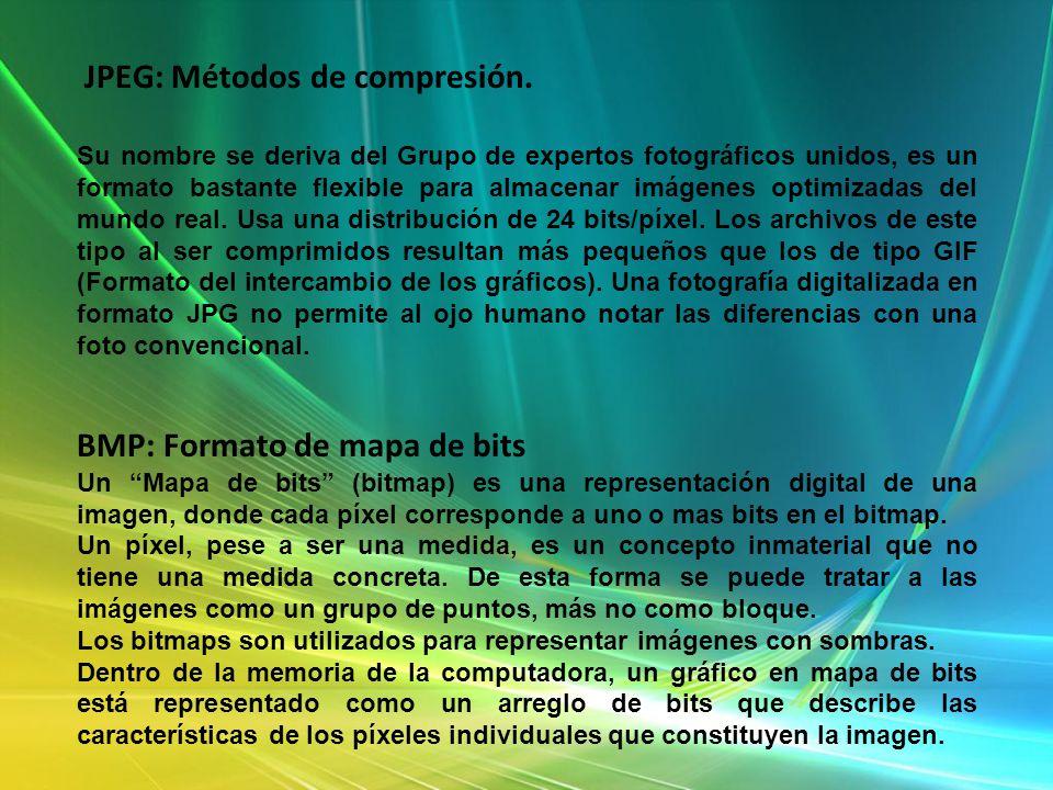 JPEG: Métodos de compresión.