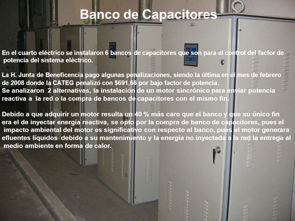 Banco de Capacitores En el cuarto eléctrico se instalaron 6 bancos de capacitores que son para el control del factor de.