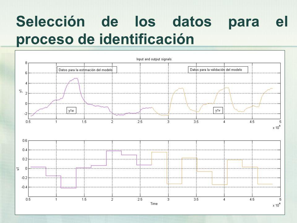 Selección de los datos para el proceso de identificación