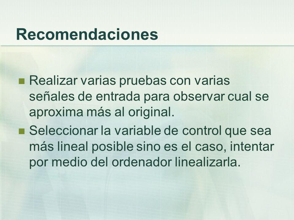 Recomendaciones Realizar varias pruebas con varias señales de entrada para observar cual se aproxima más al original.