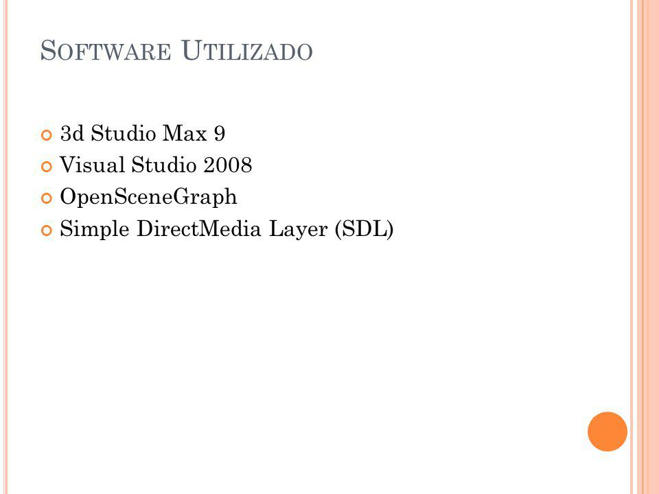 Software Utilizado 3d Studio Max 9 Visual Studio 2008 OpenSceneGraph
