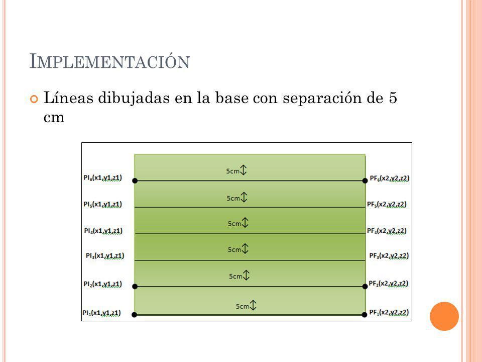 Implementación Líneas dibujadas en la base con separación de 5 cm