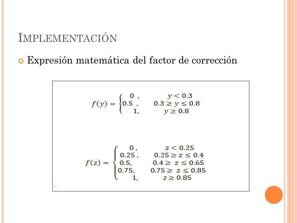 Implementación Expresión matemática del factor de corrección