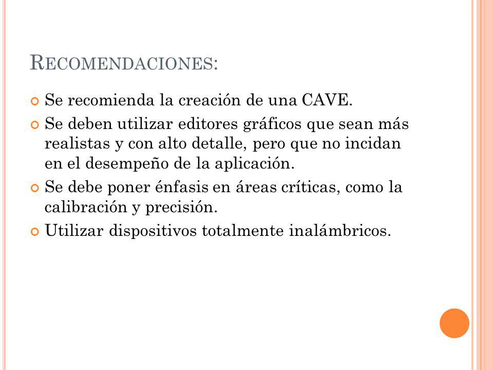 Recomendaciones: Se recomienda la creación de una CAVE.