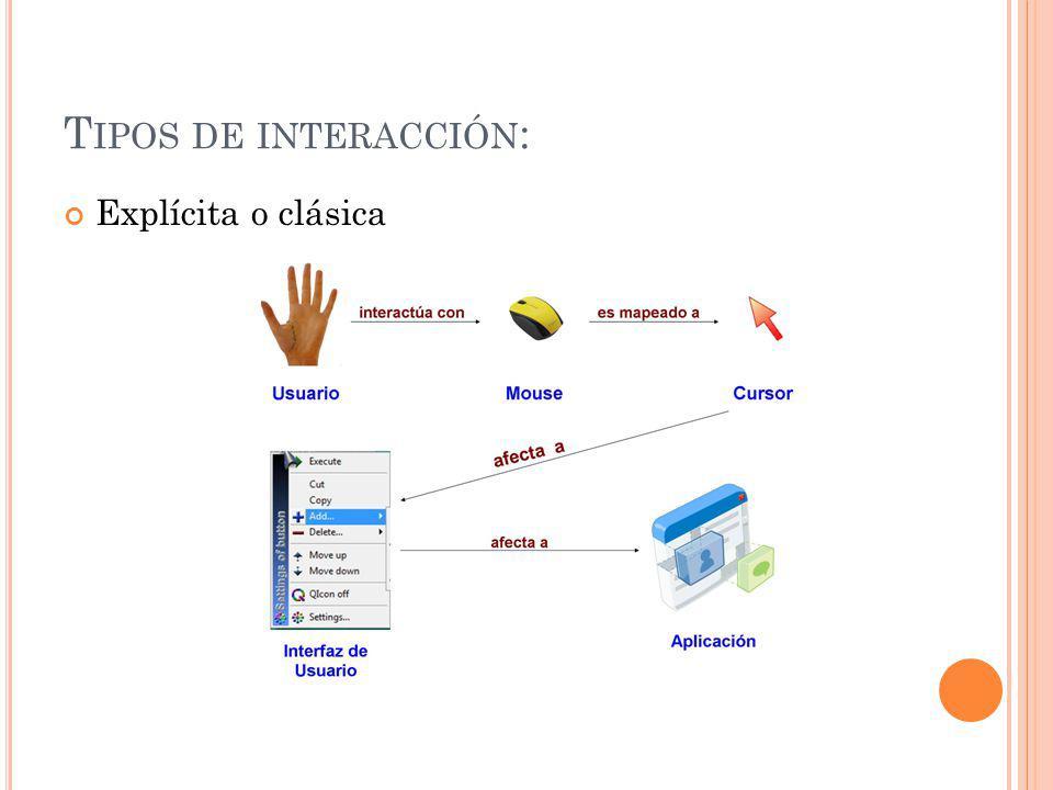 Tipos de interacción: Explícita o clásica